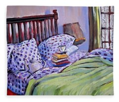 Bed And Books Fleece Blanket