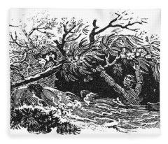 Bewick: Man Drowning Fleece Blanket