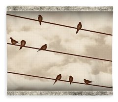 Birds On Wires Fleece Blanket