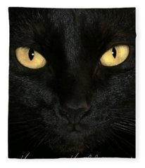Black Cat Halloween Card Fleece Blanket