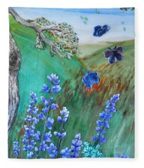 Blue Butterflies Fleece Blanket
