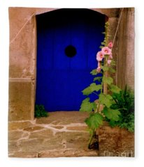 Blue Door And Pink Hollyhocks Fleece Blanket