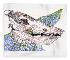 Boar Skull Ink Fleece Blanket