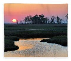 Bombay Hook Sunrise Fleece Blanket