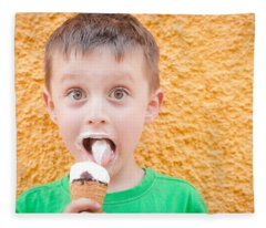 Boy Having Ice Cream Fleece Blanket