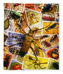 Bugs On Postage Stamps Fleece Blanket