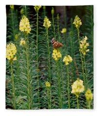 Butterfly In Yellow Flowers Fleece Blanket