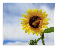 Butterfly On A Sunflower Fleece Blanket