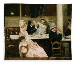 Cafe Scene In Paris Fleece Blanket