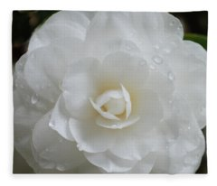 Camellia After Rain Storm Fleece Blanket