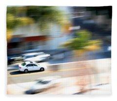 Car In Motion Fleece Blanket