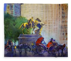 Carriage Rides In Nyc Fleece Blanket