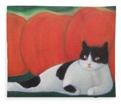 Cat And Pumpkins  Fleece Blanket