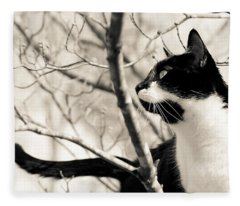 Cat In A Tree In Black And White Fleece Blanket