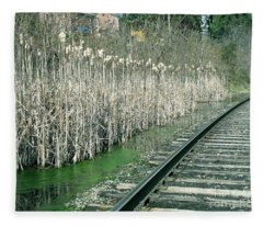 Cattails By The Tracks Fleece Blanket