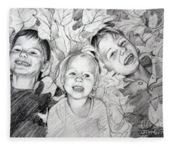 Children Playing In The Fallen Leaves Fleece Blanket