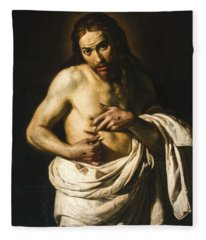 Christ Displaying His Wounds Fleece Blanket