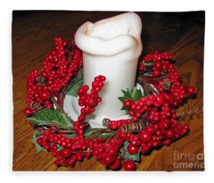 Christmas Composition. A White Candle And A Red Wreath Fleece Blanket