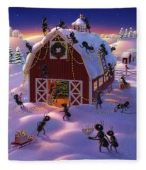 Christmas Decorator Ants Fleece Blanket