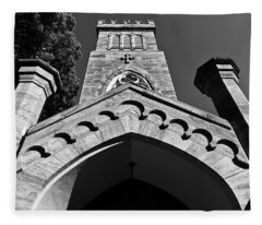 Church Facade In Black And White Fleece Blanket