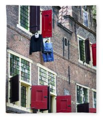 Clothes Hanging From A Window In Kattengat Fleece Blanket