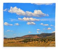 Cloudy Wyoming Sky Fleece Blanket