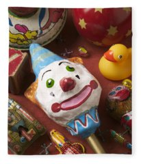 Clown Rattle And Old Toys Fleece Blanket