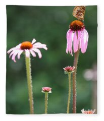 Coneflowers And Butterfly Fleece Blanket