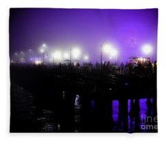 Cool Night At Santa Monica Pier Fleece Blanket