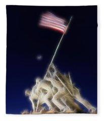 Digital Lightening - Iwo Jima Memorial Fleece Blanket
