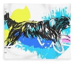 Dog Running In Water Fleece Blanket