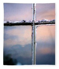 Empty Cross On The Window Of An Old Church Fleece Blanket