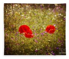 English Summer Meadow. Fleece Blanket