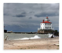 Fairport Harbor Beach Fleece Blanket