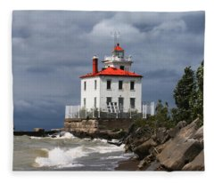 Fairport Harbor West Breakwater Lighthouse Fleece Blanket