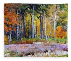 Fall In The Arboretum Fleece Blanket