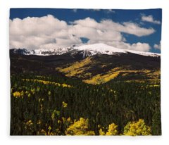 Fall Snow On Gold Hill Fleece Blanket