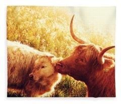 Fenella With Her Daughter. Highland Cows. Scotland Fleece Blanket