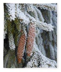 Fir Cones In Winter Fleece Blanket