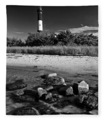 Fire Island In Black And White Fleece Blanket
