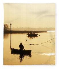 Fisherman On Lake Fleece Blanket