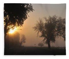 Foggy Morn Street Fleece Blanket