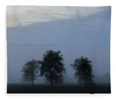 Foggy Pennsylvania Treeline Fleece Blanket