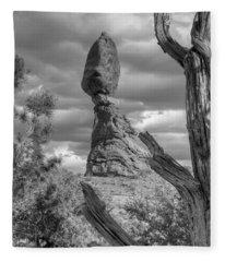Framed Balance Rock Bw Fleece Blanket