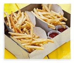 French Fries In Box Fleece Blanket