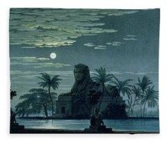 Garden Scene With The Sphinx In Moonlight Fleece Blanket