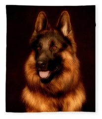 German Shepherd Portrait Fleece Blanket