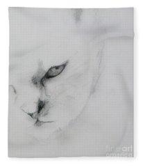 Ghost Cat Fleece Blanket
