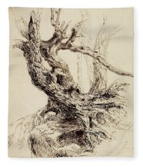 Gnarled Tree Trunk Fleece Blanket