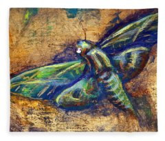 Gold Moth Fleece Blanket